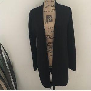 KASPER long soft open black cardigan